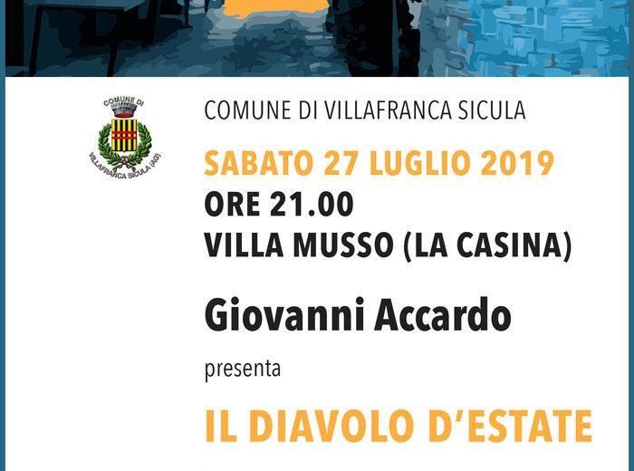 """A Villafranca Sicula Giovanni Accardo presenta """"Il diavolo d'estate"""""""