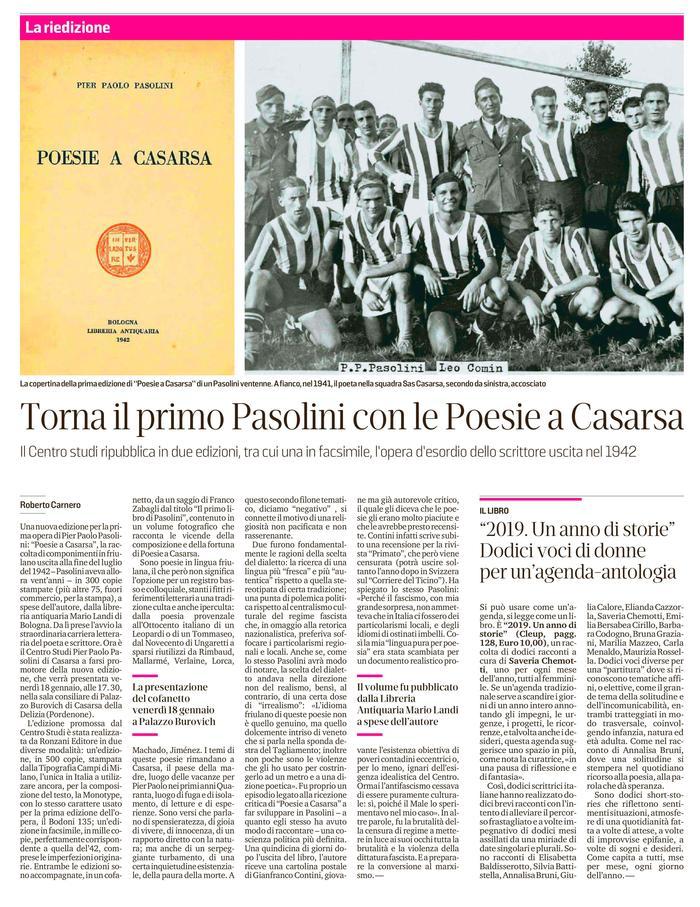 Torna il primo Pasolini con le Poesie a Casarsa