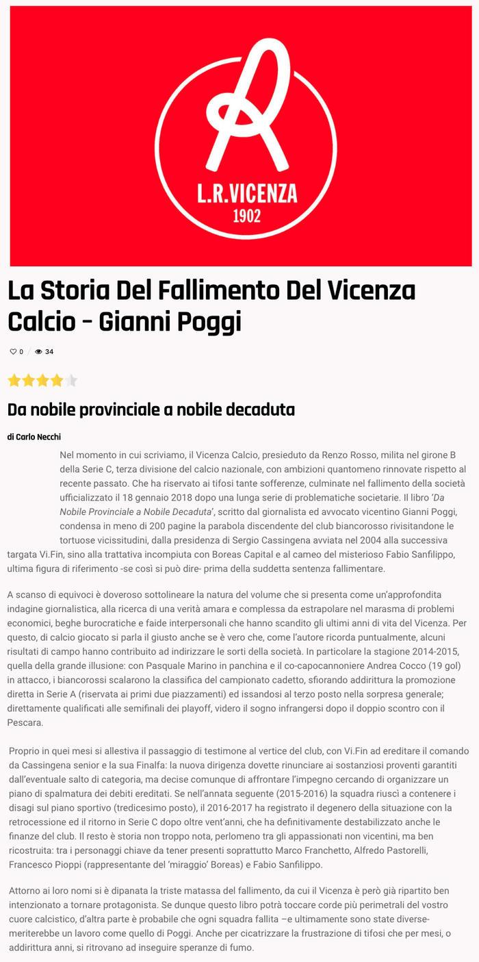 La storia del fallimento del Vicenza Calcio - Gianni Poggi