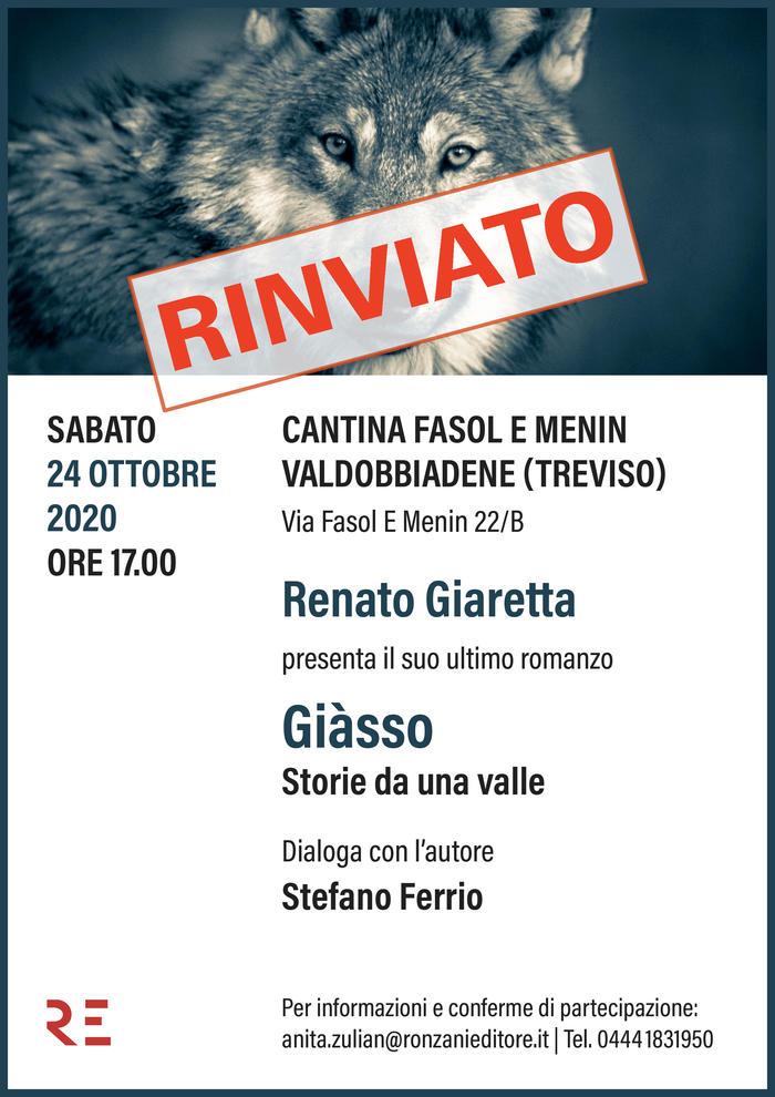 """Alla Cantina Fasol e Menin di Valdobbiadene Renato Giaretta presenta """"Giàsso. Storie da una valle"""""""