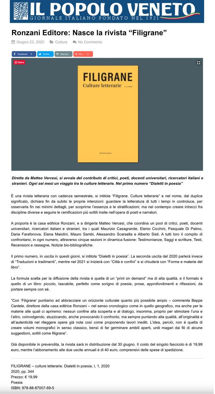 """Ronzani Editore: Nasce la rivista """"Filigrane"""""""