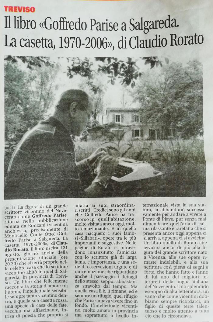 """Il libro """"Goffredo Parise a Salgareda. La casetta, 1970-2006"""", di Claudio Rorato."""