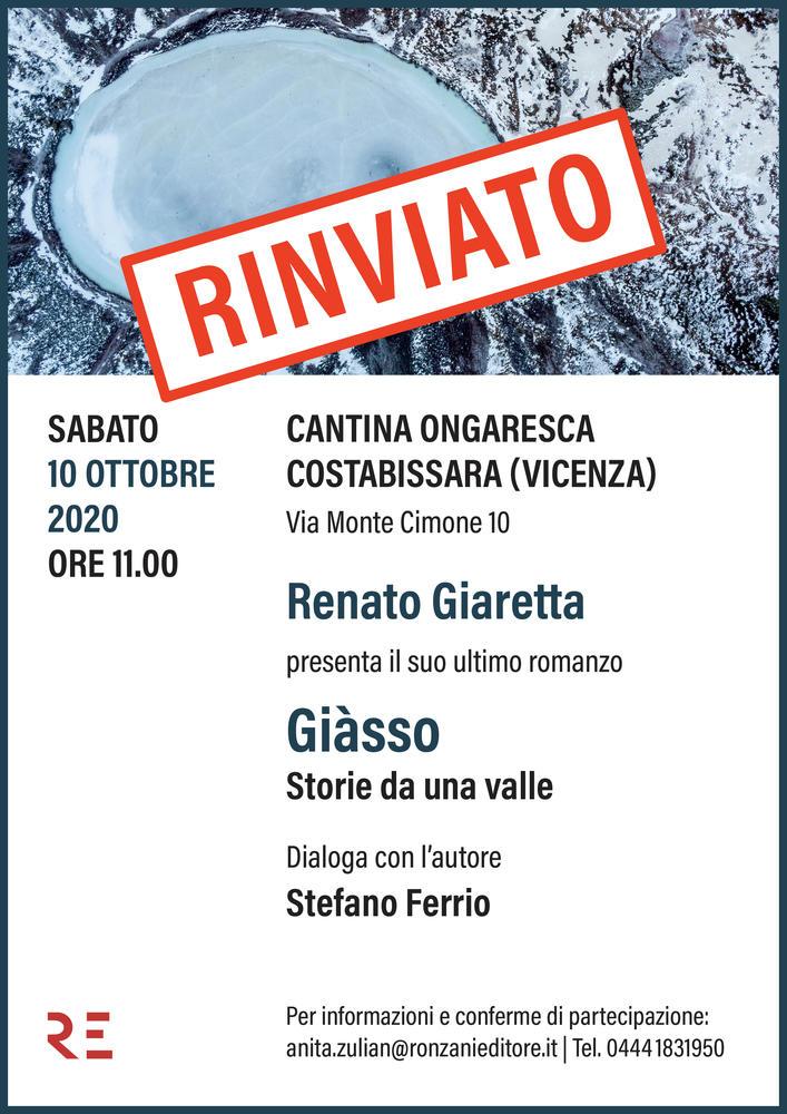 """Alla Cantina Ongaresca Renato Giaretta presenta """"Giàsso. Storie da una valle"""""""