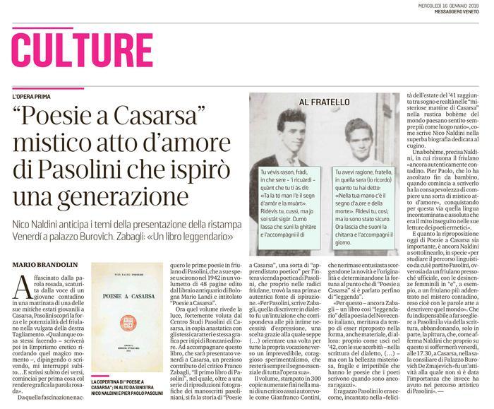 """""""Poesie a Casarsa"""" mistico atto d'amore di Pasolini che ispirò una generazione"""