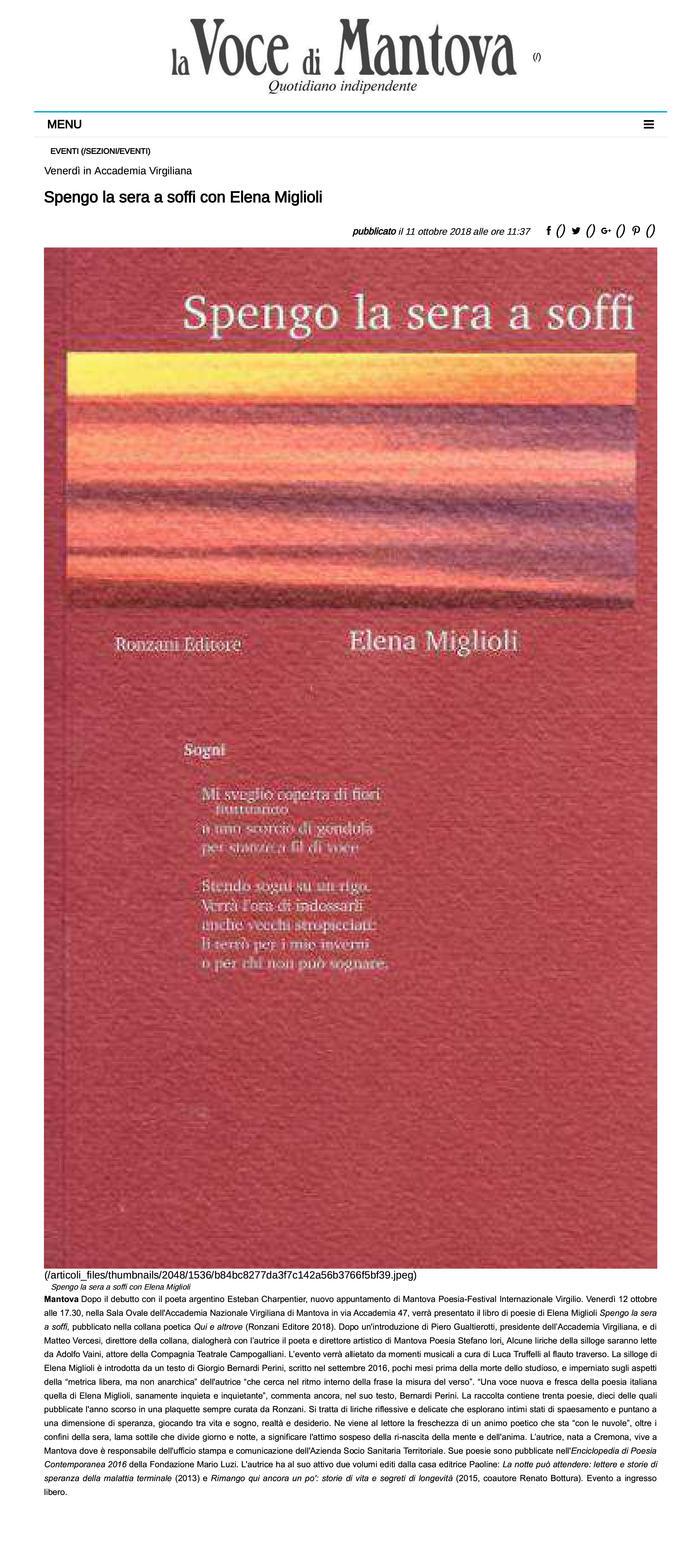 Spengo la sera a soffi con Elena Miglioli