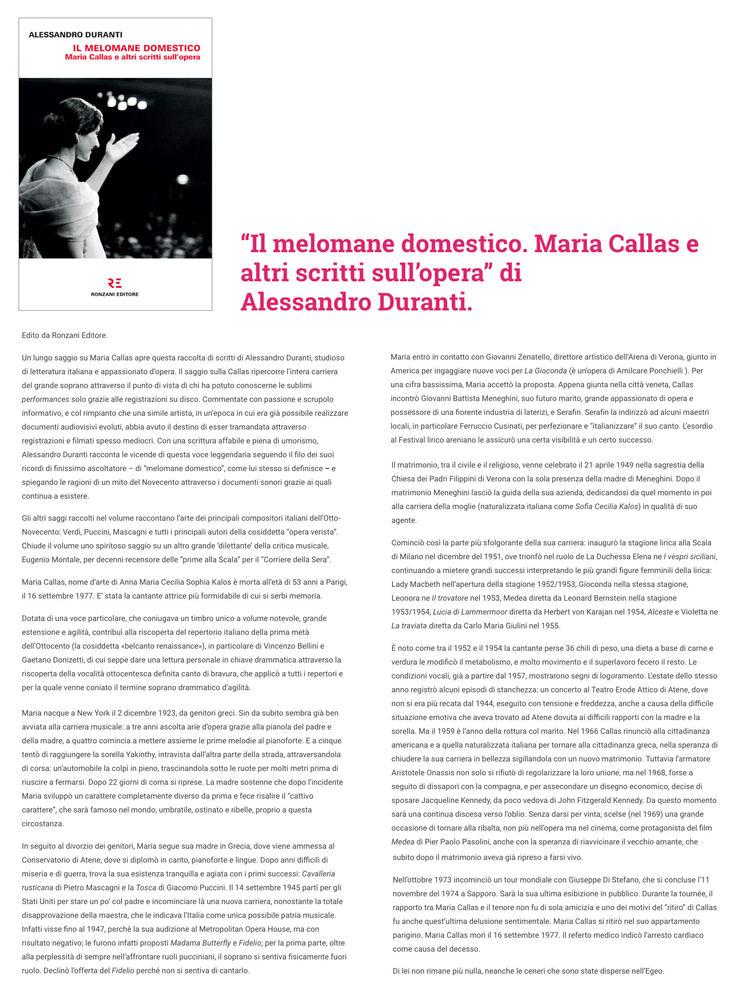 """""""Il melomane domestico. Maria Callas e altri scritti sull'opera"""" di Alessandro Duranti"""