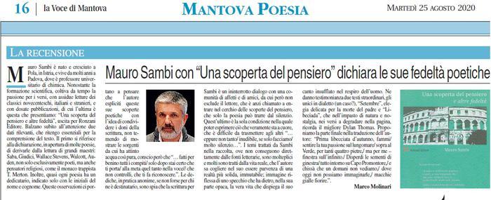 """Mauro Sambi con """"Una scoperta del pensiero"""" dichiara le sue fedeltà poetiche"""