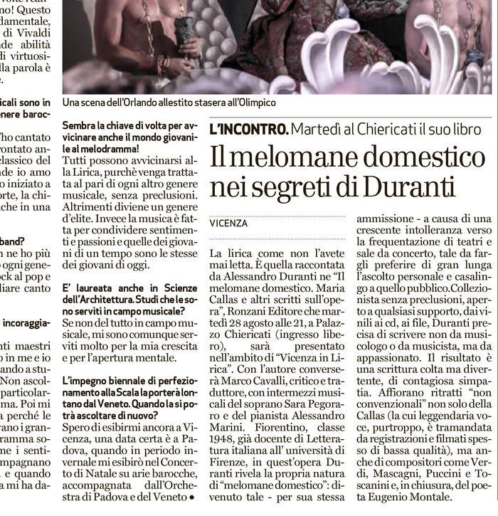 """Alessandro Duranti presenta """"Il melomane domestico"""""""