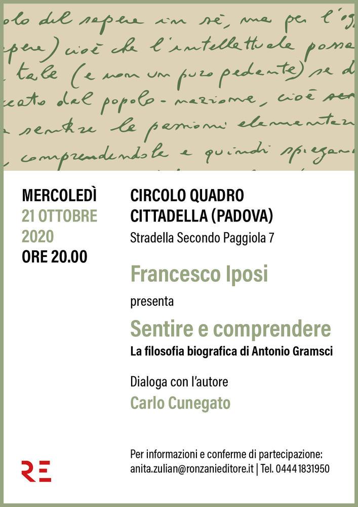 """Al Circolo Quadro di Cittadella Francesco Iposi presenta """"Sentire e comprendere"""""""