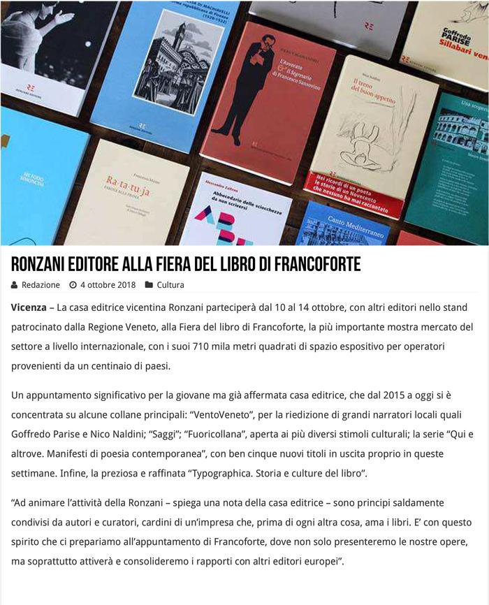 Ronzani Editore alla Fiera del libro di Francoforte