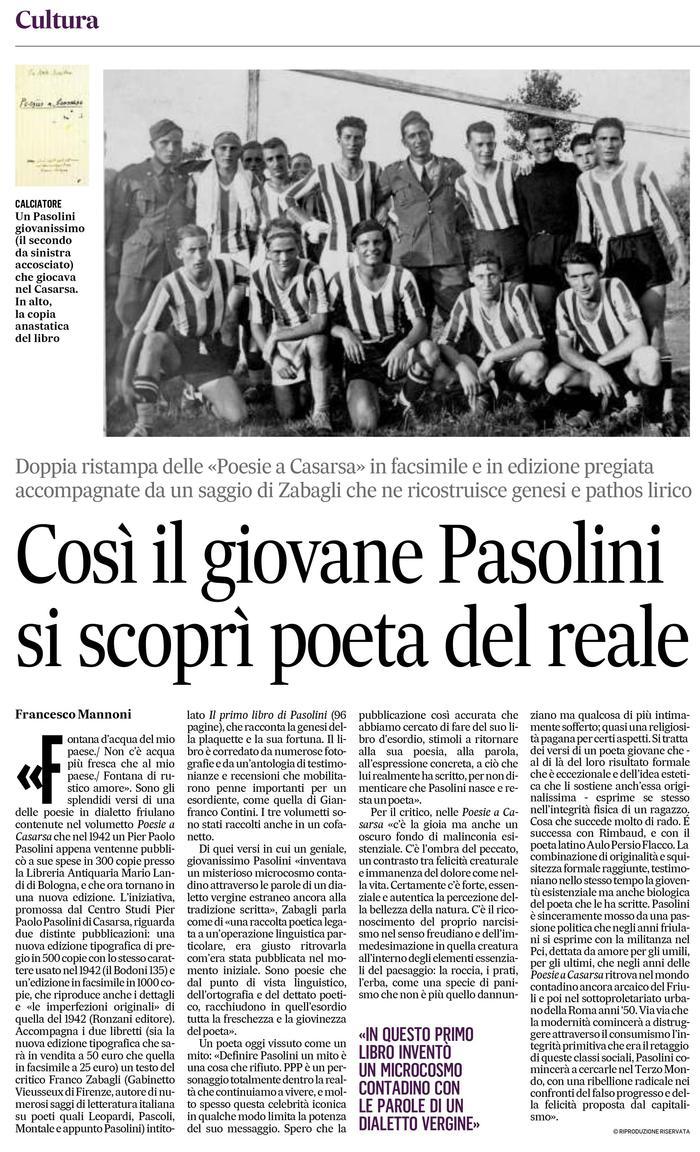 Così il giovane Pasolini si scoprì poeta del reale