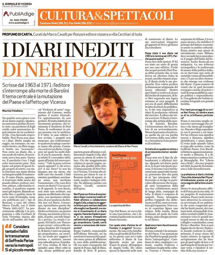 I Diari inediti di Neri Pozza. Curati da Marco Cavalli per Ronzani Editore stasera a Villa Cerchiari di Isola