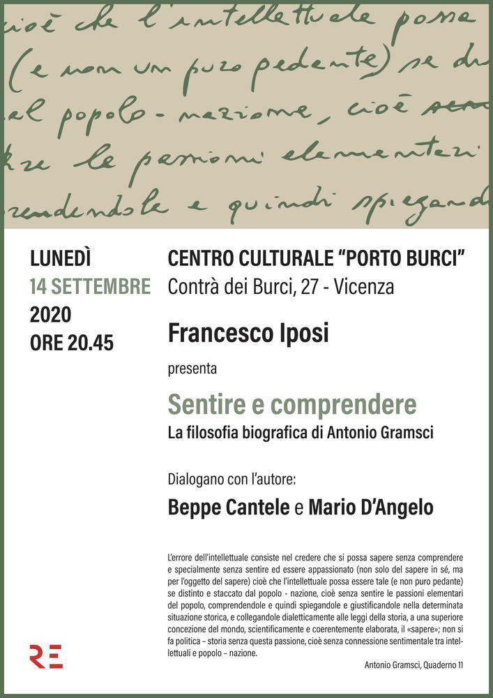 """A Porto Burci Francesco Iposi presenta """"Sentire e comprendere. La filosofia biografica di Antonio Gramsci"""""""