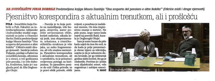 Mauro Sambi a Pola per la presentazione del suo ultimo libro di poesia