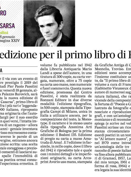 Nuova edizione per il primo libro di Pasolini