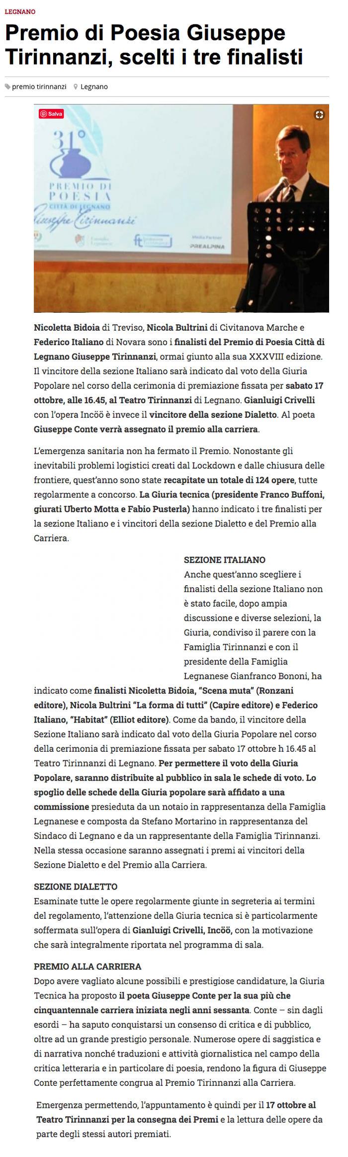 Premio di Poesia Giuseppe Tirinnanzi, scelti i 3 finalisti