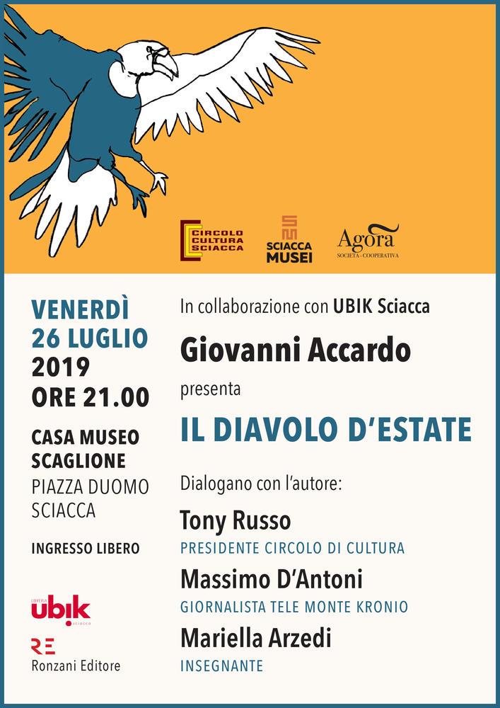 """In collaborazione con UBIK Sciacca Giovanni Accardo presenta """"Il diavolo d'estate"""""""