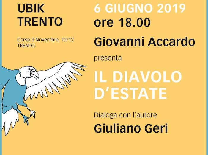 """Alla libreria Ubik di Trento Giovanni Accardo presenta """"Il diavolo d'estate"""""""