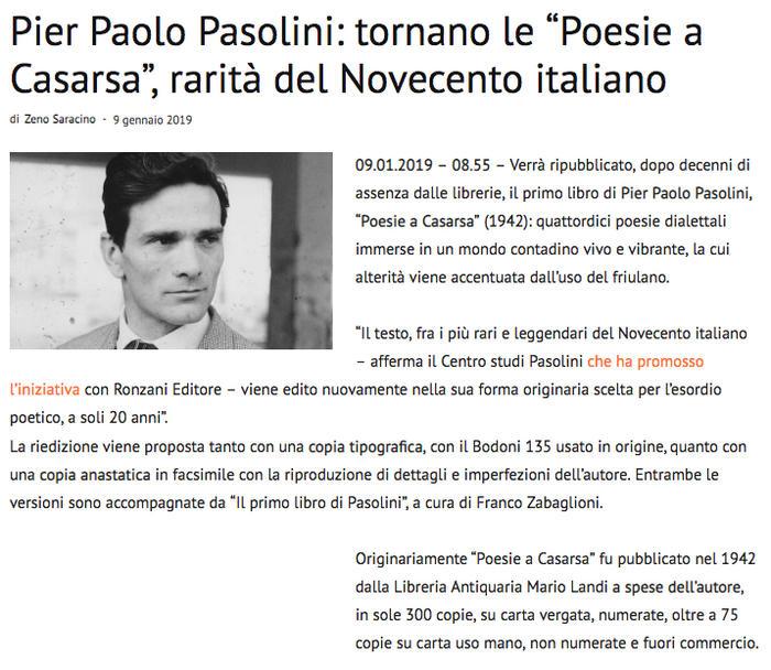 """Pier Paolo Pasolini: tornano le """"Poesie a Casarsa"""", rarità del Novecento italiano"""