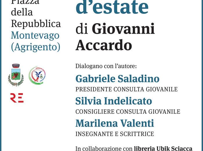 """A Montevago (Agrigento) Giovanni Accardo presenta il libro """"Il diavolo d'estate""""."""
