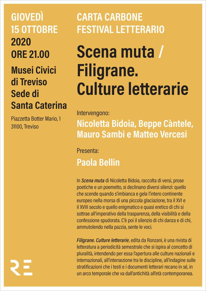 "Al Carta Carbone Festival ""Scena muta"" e ""Filigrane. Culture letterarie"""