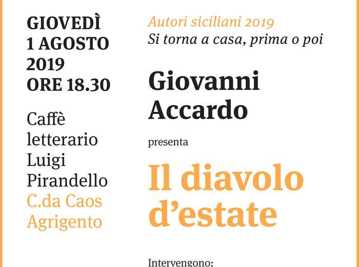 """Al Caffè letterario Luigi Pirandello (Agrigento) Giovanni Accardo presenta """"Il diavolo d'estate"""""""