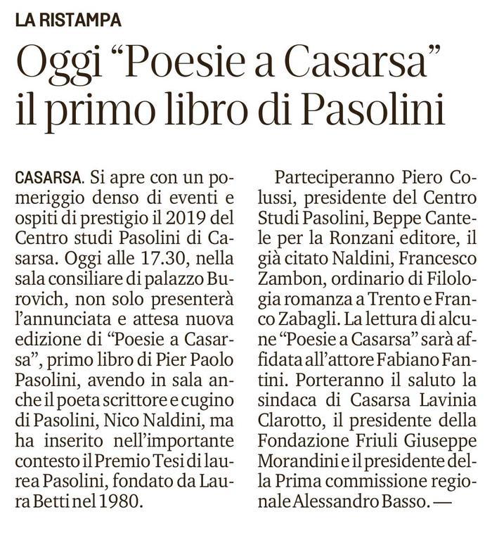 """Oggi """"Poesia a Casarsa"""" il primo libro di Pasolini"""