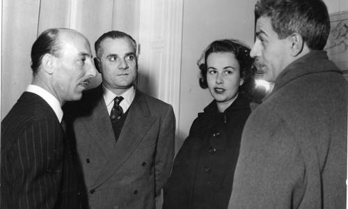 Valentino Bompiani con Elio Vittorini e Alberto Moravia