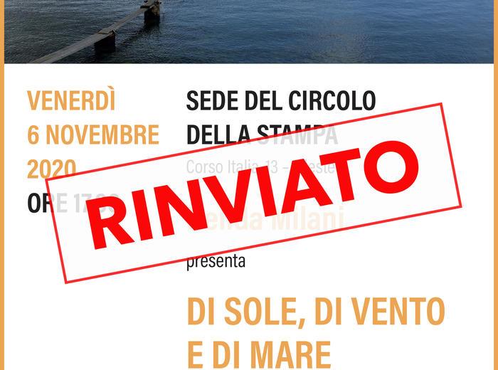 """Al Circolo della Stampa di Trieste presentazione di """"Di sole, di vento e di mare"""", Nelida Milani"""